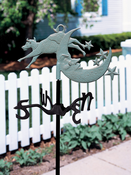 Whitehall Products - Cow Over Moon Garden Weathervane - Verdigris Aluminum - 45118