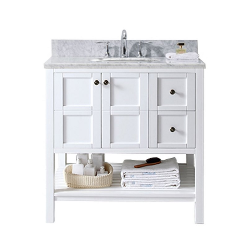 "Virtu USA - Winterfell 36"" Single Bathroom Vanity in White ..."