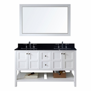 Virtu Usa Winterfell 60 Double Bathroom Vanity In White With Black Galaxy Granite Top And Square Sink Mirror Ed 30060 Bgsq Wh