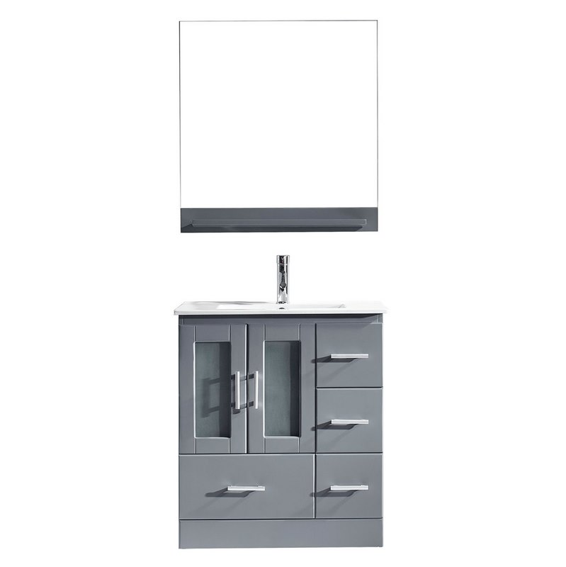 Virtu Usa Zola 30 Single Bathroom Vanity In Grey With Slim White Ceramic Top And Square Sink Brushed Nickel Faucet Mirror Ms 6730 C Gr 001