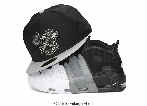 "Atlanta Braves 1876 Jet Black Placid Gray Air More Uptempo ""Tri-Color"" New Era Hat"