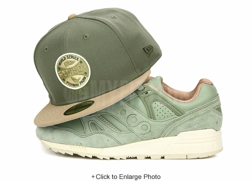 Boston Red Sox 1918 World Series Army Olive Pleated Khaki Saucony Grid SD Public Garden New Era Hat