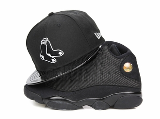 "Boston Red Sox Jet Black & Faux Patent Air Jordan XIII ""Black Cat"" Matching New Era Snapback"