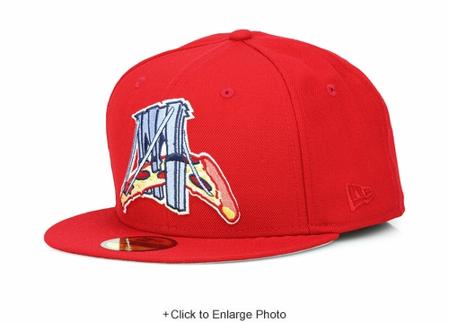 """Brooklyn Cyclones """"Slices"""" Pizza Scarlet Copen Blue Custom Wool New Era Fitted Cap"""