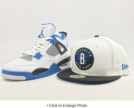 "Brooklyn Nets Glacial White Jet Black Club Royal Air Jordan IV ""Motorsport"" New Era Hat"