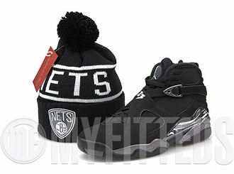 "Brooklyn Nets High 5 Reflective Air Jordan VIII ""Chrome"" Matching Mitchell & Ness Pom Skully"