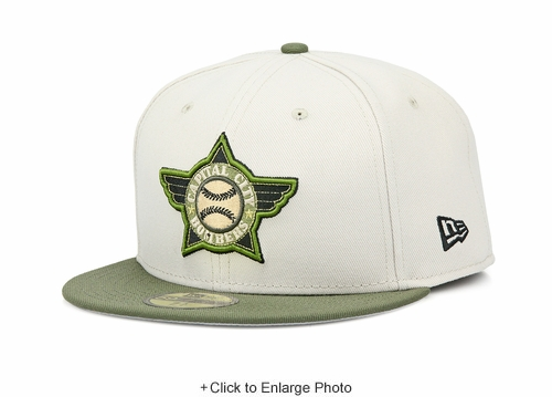 Capital City Bombers Sandstone Army Oliver Jet Black MiLB Custom New Era Fitted Cap