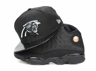 "Carolina Panthers Jet Black & Faux Patent Air Jordan XIII ""Black Cat"" New Era Fitted Cap"
