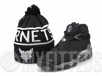 Charlotte Hornets High 5 Black Reflective Air Jordan VIII Chrome Matching Mitchell & Ness Skully