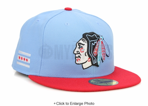 "Chicago Blackhawks Ultra Blue Scarlet Chicago Flag Air Jordan X ""Chicago"" New Era Fitted Cap"