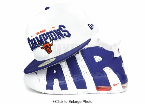 """Chicago Bulls 6X Champs Glacial White Dark Blue Ink Air More Uptempo 96 """"Knicks""""  New Era Hat"""