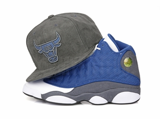 "Chicago Bulls Air Jordan XIII ""Flint"" Retro Dark Grey Suede Mitchell & Ness Snapback"