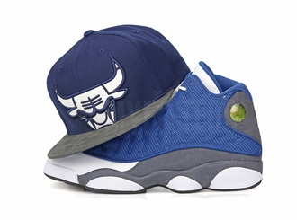 "Chicago Bulls Air Jordan XIII ""Flint"" Retro Leather XL Face Mitchell & Ness Snapback"