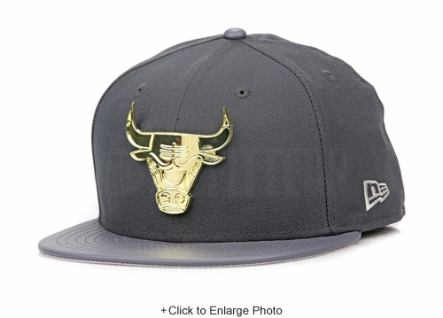 "Chicago Bulls Carbon Graphite Gold Metal Badge Air Jordan XII ""Wolf Grey"" New Era Hat"