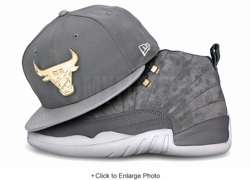 "Chicago Bulls Carbon Graphite Gold Metal Badge Air Jordan XII ""Wolf Grey"" New Era Snapback"
