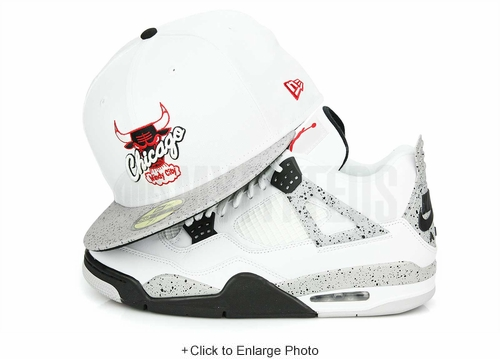 "Chicago Bulls Glacial White Cement Speckled Air Jordan IV V ""White Cement OG"" New Era Fitted Cap"