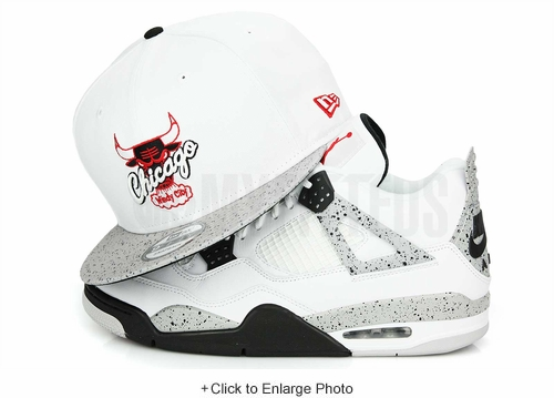 "Chicago Bulls Glacial White Cement Speckled Air Jordan IV V ""White Cement OG"" New Era Snapback"