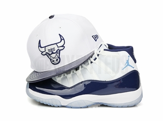 "Chicago Bulls Glacial White Collegiate Navy Air Jordan XI ""Win Like 82"" New Era Snapback Hat"
