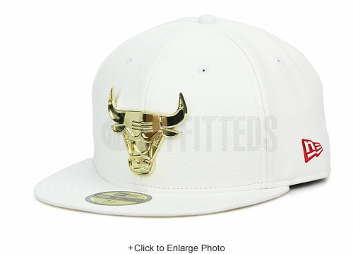 "Chicago Bulls Glacial White Faux Pebbled Gold Metal Badge Air Jordan XIII ""Finals Pack"" ""DMP"" New Era Hat"