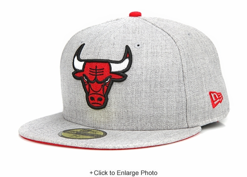 Chicago Bulls Heather Hype Placid Gray Scarlet Heather New Era Fitted Cap