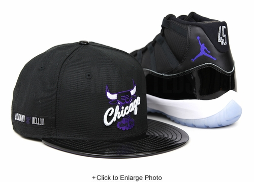 "Chicago Bulls Jet Black and Faux Patent Concord Air Jordan XI ""Space Jam"" OG New Era Snapback"