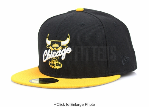 "Chicago Bulls Jet Black Argent Gold Air Jordan I ""New Love"" Matching New Era Fitted Cap"