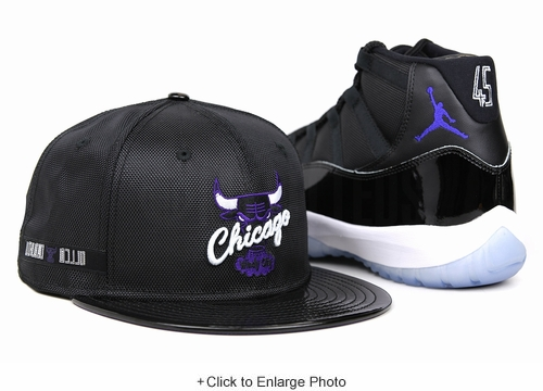 "Chicago Bulls Jet Black Ballistic Nylon Faux Patent Concord Air Jordan XI ""Space Jam"" OG New Era Hat"