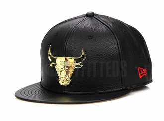 "Chicago Bulls Jet Black Faux Pebbled Gold Metal Badge Air Jordan XIV ""Finals Pack"" ""DMP"" New Era Hat"