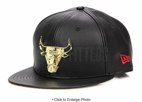"Chicago Bulls Jet Black Faux Pebbled Gold Metal Badge Air Jordan XIV ""Finals Pack"" ""DMP"" New Era Snapback"