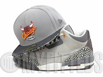 Chicago Bulls Placid Grey Carbon Graphite Sour Citrus Air Jordan III Cool Grey Matching New Era Hat