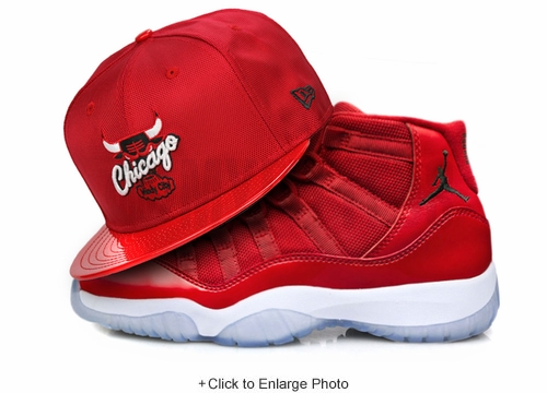 "Chicago Bulls Scarlet Ballistic Faux Patent Air Jordan XI ""Win Like '96"" New Era Fitted Cap"