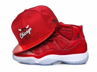 "Chicago Bulls Scarlet Ballistic Faux Patent Air Jordan XI ""Win Like 96"" New Era Snapback Hat"