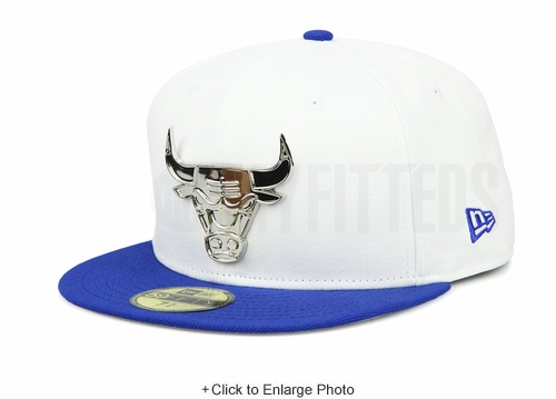 "Chicago Bulls Silver Metal Badge Air Jordan XIII ""White/Sport Royal"" OG New Era Hat"