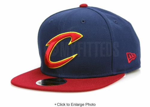 "Cleveland Cavaliers ""C"" Midnight Navy Russet Sunset New Era Original Fit Snapback"