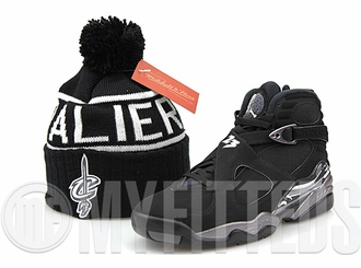Cleveland Cavaliers High 5 Reflective Air Jordan VIII Chrome Matching Mitchell & Ness Pom Skully