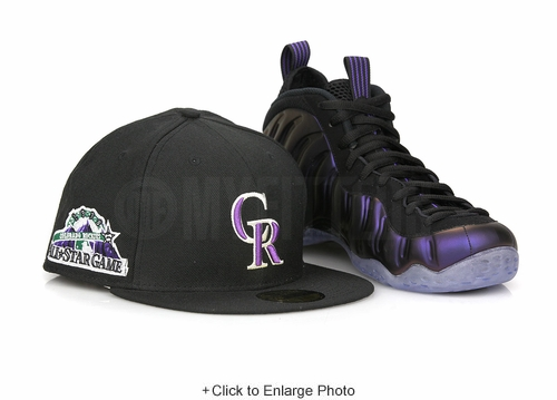 "Colorado Rockies 1998 All Star Game Jet Black Air Foamposite One ""Eggplant"" New Era Hat"