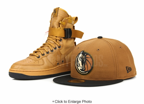 Dallas Mavericks Cinnamon Graham Jet Black Air Force 1 SF Desert Ochre Matching New Era Hat