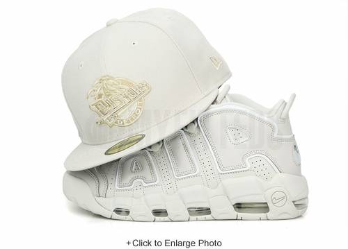 "Detroit Pistons Sandstone Air More Uptempo 96 ""To the Bone"" Matching New Era Fitted Cap"