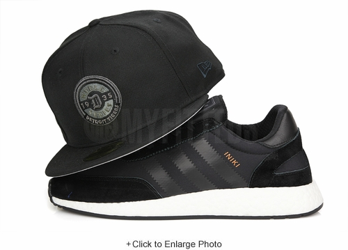 Detroit Tigers 1935 World Series Jet Black Metallic Pewter Adidas Iniki Runner New Era Hat