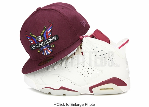 "Diplomats Dipset Harlem World Big Eagle Intense Maroon Air Jordan VI ""New Maroon"" New Era Hat"