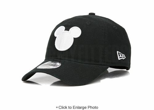 Disney Mickey Mouse Face Jet Black Canvas Glacial White New Era Dad Hat