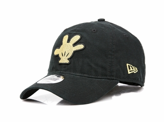 Disney Mickey Mouse Hand Jet Black Canvas Metallic Gold New Era Dad Hat