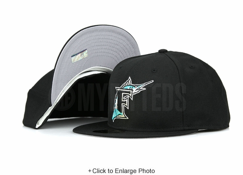 Florida Marins 1999-2006 On-Field Game Jet Black Pure Aqua Grey Brim New Era Hat