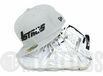 """Houston Astros Placid Gray Gray Heather Jet Black LeBron XII Elite """"Pigalle"""" Matching New Era Fitted Cap"""