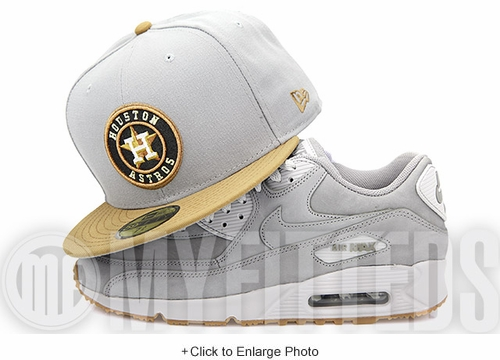 Houston Astros Placid Gray Wheat Toast Jet Black Air Max 90 Winter PRM Matching New Era Fitted Cap