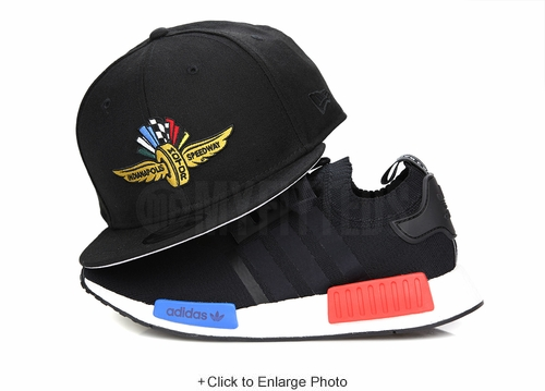 Indianapolis Motor Speedway Jet Black Official Adidas NMD Black OG Tri-Color New Era Snapback