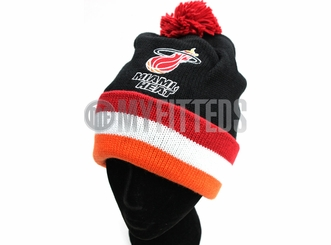 Miami Heat Black Red Orange Mitchell & Ness Pom Winter Skully