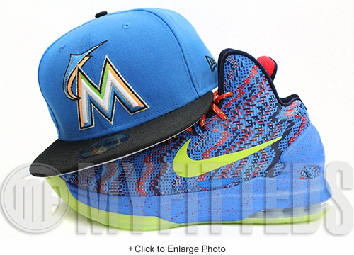 Miami Marlins Cardinal Blue Black Lime Green Orange White New Era Fitted Hat