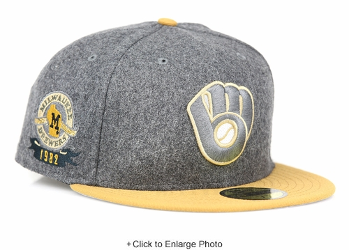 Milwaukee Brewers Gray Melton Wool Birch Veneer 1982 A.L. Champs Patch New Era Fitted Cap