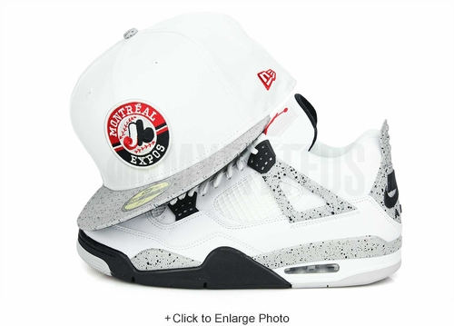"Montreal Expos Glacial White Cement Speckled Air Jordan IV V ""White Cement OG"" Matching New Era Hat"